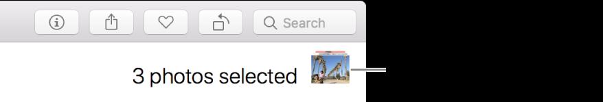 Un indicateur de sélection indiquant trois photos sélectionnées.