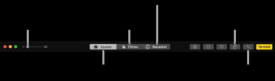La barre d'outils d'édition affichant les boutons pour réaliser les ajustements, ajouter des filtres et recadrer les photos.