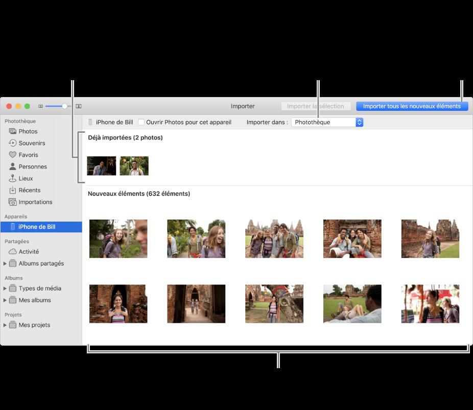 Les photos présentes sur l'appareil que vous avez déjà importées apparaissent en haut de la sous-fenêtre. Les nouvelles photos apparaissent en bas. En haut et au centre se trouve le menu contextuel «Importer vers». Le bouton Importer toutes les nouvelles photos se trouve en haut à droite.