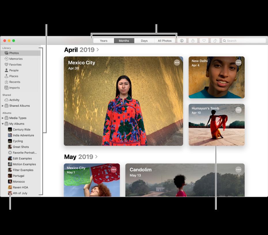 La fenêtre Photos présentant des photos organisées par mois.