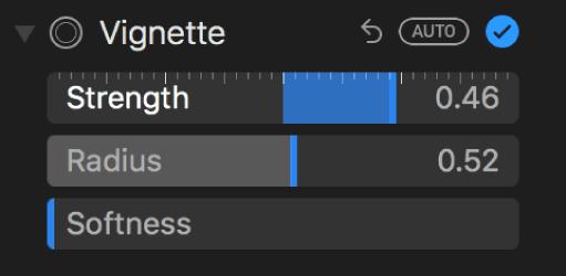 Les commandes d'effet de vignettage dans la sous-fenêtre Ajuster.