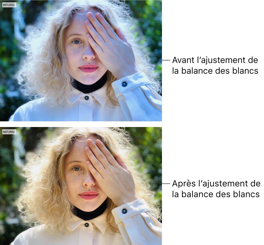 Une photo avant et après ajustement de la balance des blancs.
