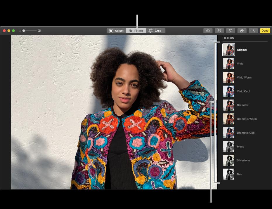 La photo en mode édition avec des filtres affichés sur la droite.