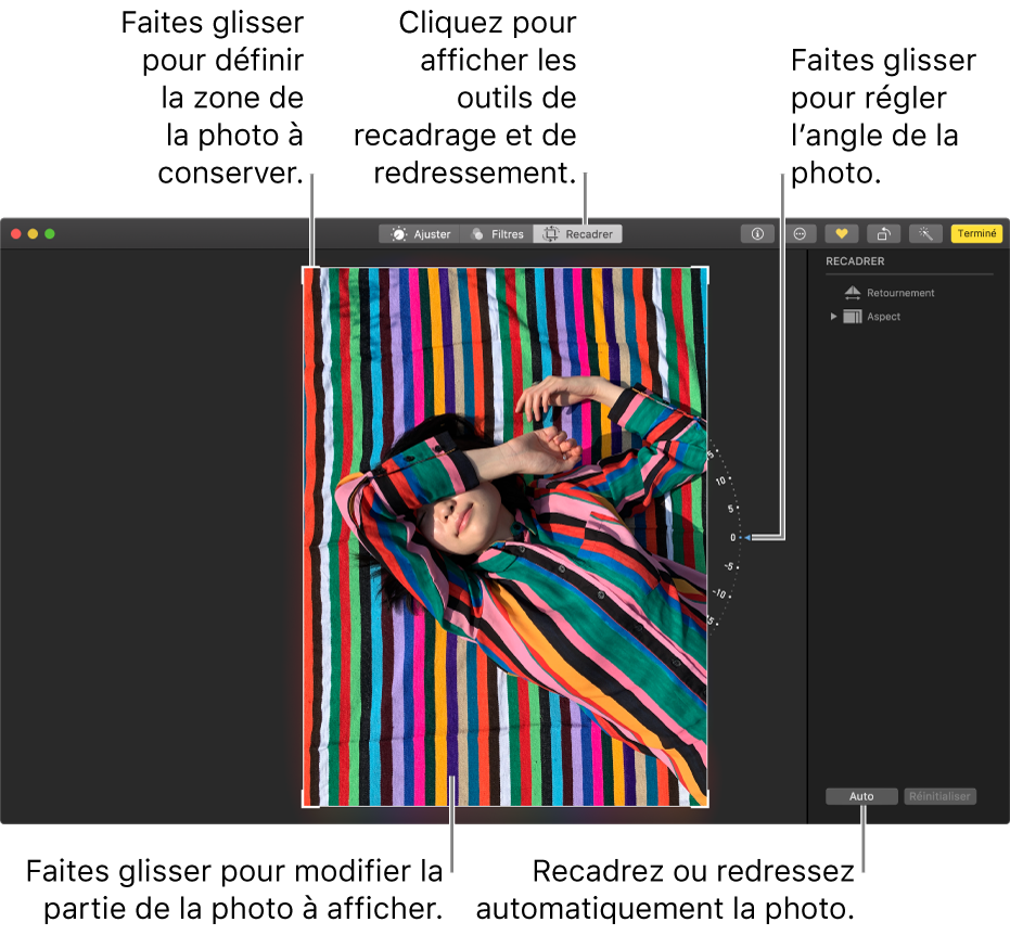Une photo en mode édition avec les options de recadrage et de redressement.