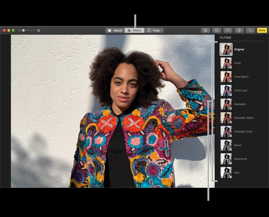 Fotografija u prikazu za uređivanje s filtrima s desne strane.