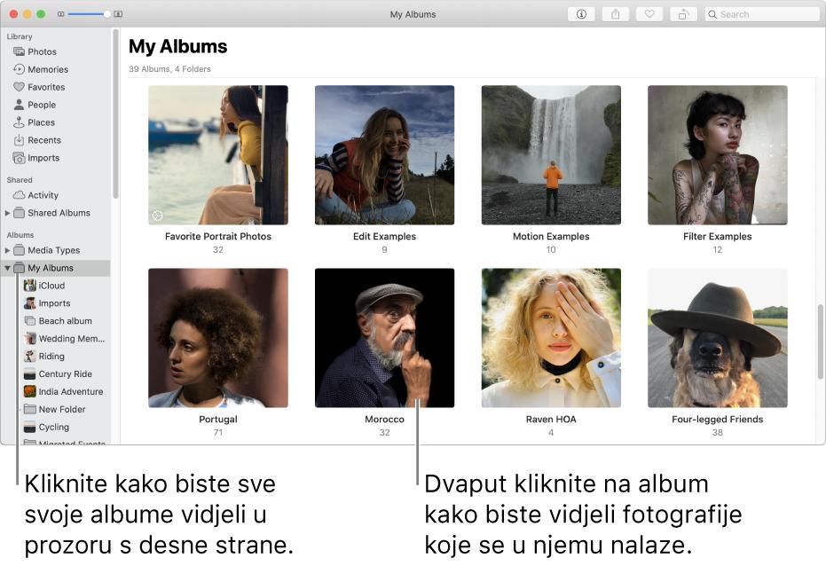 Prozor aplikacije Foto s opcijom Moji albumi odabranom u rubnom stupcu te albumima koje ste izradili prikazanim u prozoru na desnoj strani.