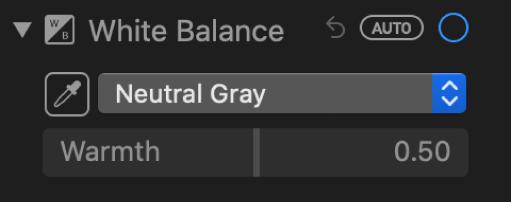 Kontrole ravnoteže bjeline u prozoru Podešavanje.