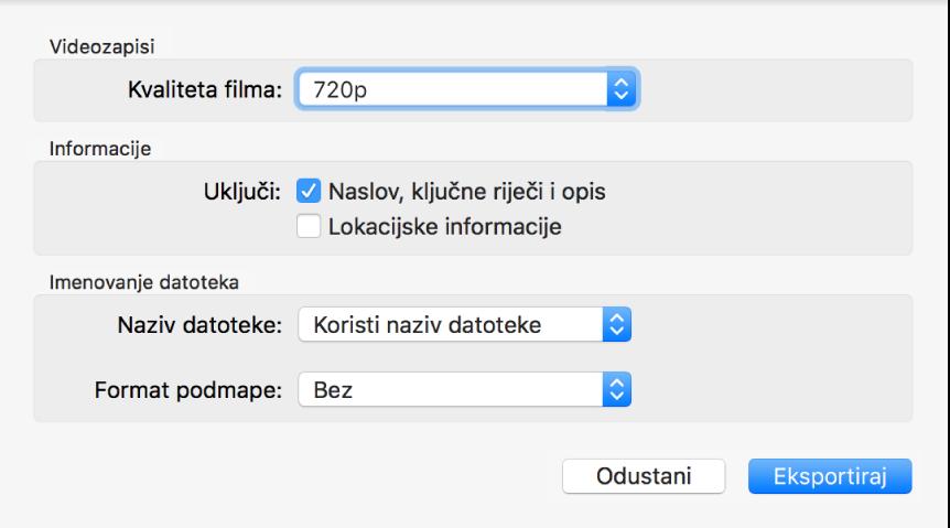 Dijalog s prikazom opcija za eksportiranje video isječaka.