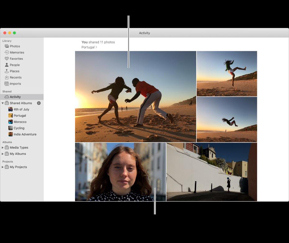 Prozor aplikacije Foto s prikazanim albumom Aktivnost.