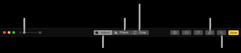 Alatna traka koja prikazuje tipke za podešavanja, dodavanje filtara i izrezivanje fotografija.