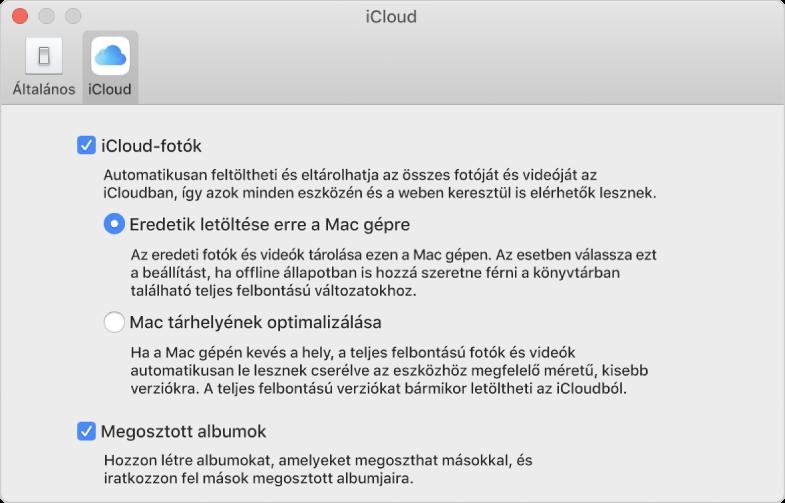 A Fotók beállításainak iCloud panelje.