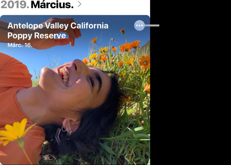 Egy adott napon készített fotókat jelképező fotó, amely bal felső sarkában a helyinformációk, míg a jobb alsó sarkában egy, a térkép megjelenítésére szolgáló gomb látható.