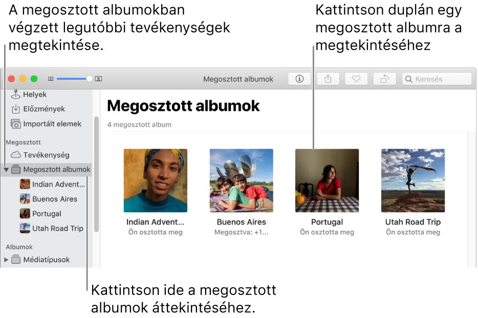 A Fotók ablakának Megosztott panele a Megosztott albumokkal.