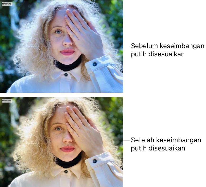 Foto sebelum dan setelah penyesuaian imbang putih.
