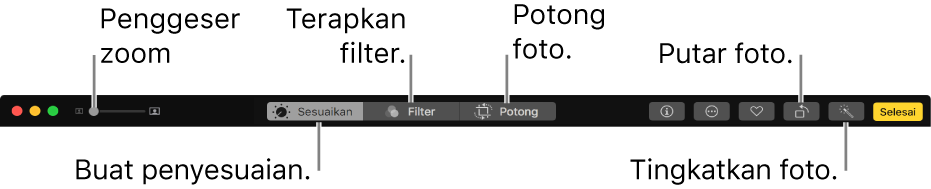 Bar alat pengeditan menampilkan tombol untuk membuat penyesuaian, menambahkan filter, dan memotong foto.
