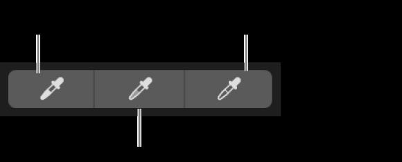 Tre contagocce utilizzati per selezionare il punto di nero, i mezzitoni e il punto di bianco della foto.