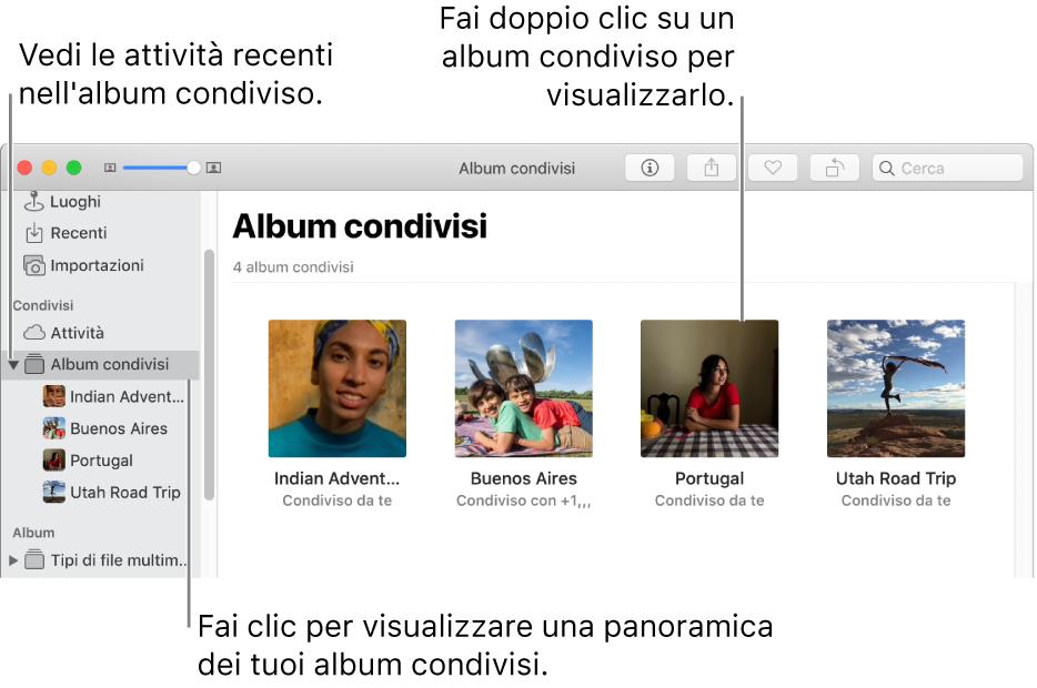 """Il pannello """"Album condivisi"""" della finestra di Foto con gli album condivisi."""