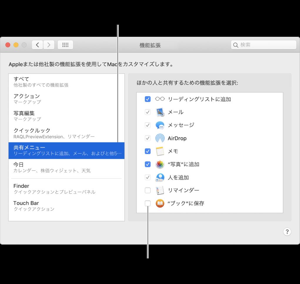 「システム環境設定」の「機能拡張」パネル。「共有メニュー」が選択され、右側に他社製の機能拡張のリストが表示されています。