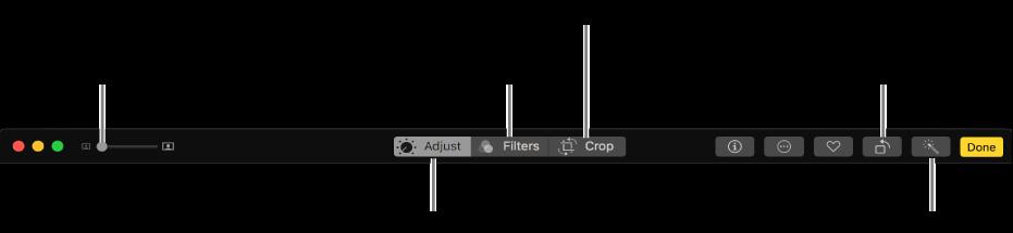 조절, 필터 추가, 사진 자르기 버튼이 표시된 편집 도구 막대.