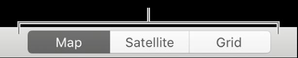 Butang Peta, Satelit dan Grid.
