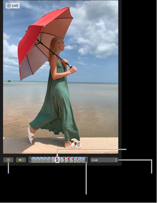 Live Photo dalam paparan pengeditan dengan gelangsar di bawahnya menunjukkan bingkai gambar. Butang Live Photo dan Speaker berada di sebelah kiri gelangsar dan di sebelah kanan pula ialah menu timbul yang anda boleh gunakan untuk menambah kesan gelung, lantun, atau pendedahan.