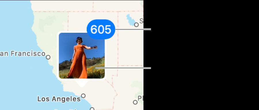 Imej kecil dari foto yang terletak pada peta.