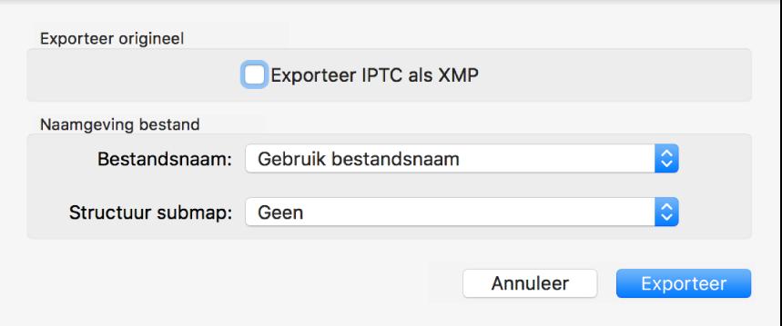 Een dialoogvenster met opties voor het exporteren van fotobestanden in de originele structuur.