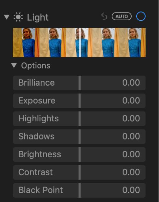 Het gedeelte 'Licht' van het paneel 'Pas aan' met schuifknoppen voor 'Gloed', 'Belichting', 'Lichte delen', 'Donkere delen', 'Contrast' en 'Zwartpunt'.