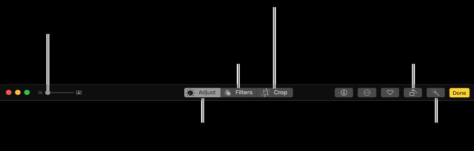De wijzigingsknoppenbalk met knoppen om aanpassingen aan te brengen, filters toe te voegen en foto's bij te snijden.