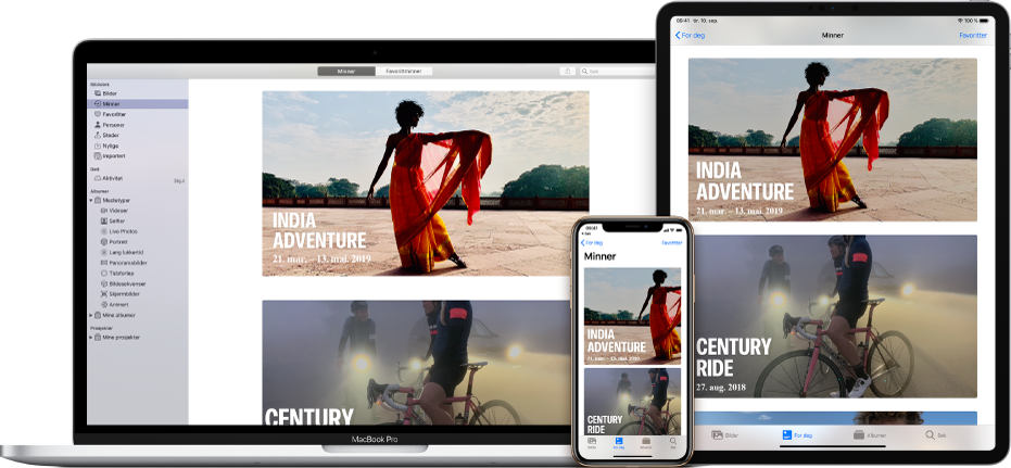 En iPhone, en MacBook og en iPad som alle viser de samme bildene på skjermen.