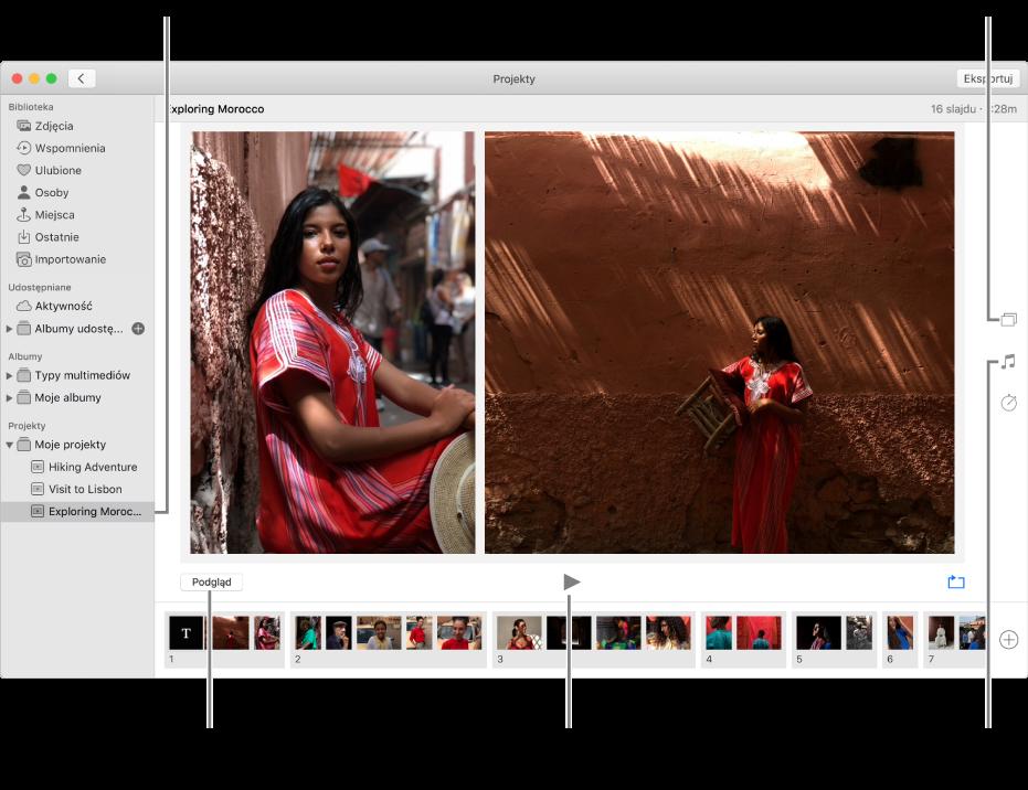 Okno Zdjęć zpokazem slajdów wczęści głównej; przyciski podglądu, odtwarzania iodtwarzania wpętli pod głównym obrazkiem pokazu slajdów; miniaturki slajdów udołu ekranu; przyciski motywu, muzyki iczasu trwania po prawej stronie.