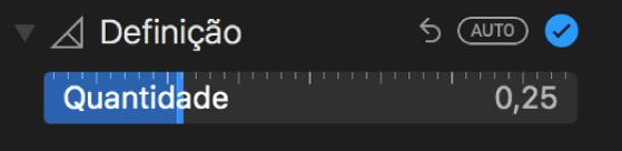 O nivelador de definição no painel Ajustar.