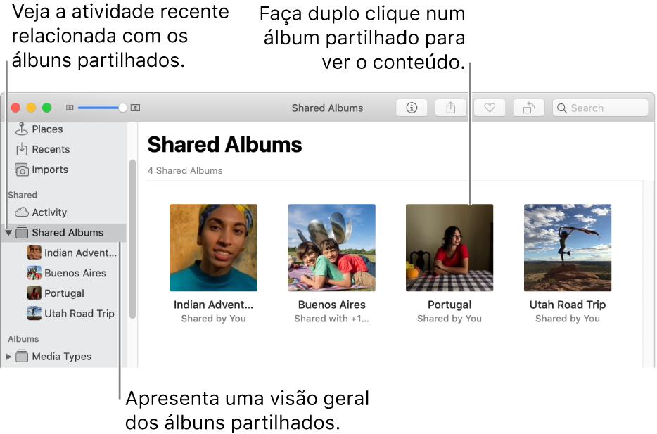 "O painel ""Álbuns partilhados"" da janela de Fotografias a mostrar os álbuns partilhados."