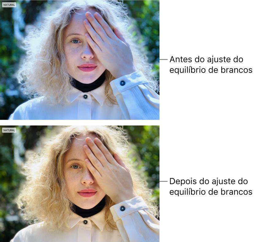 Uma fotografia antes e depois de ser aplicado o ajuste de equilíbrio de brancos.