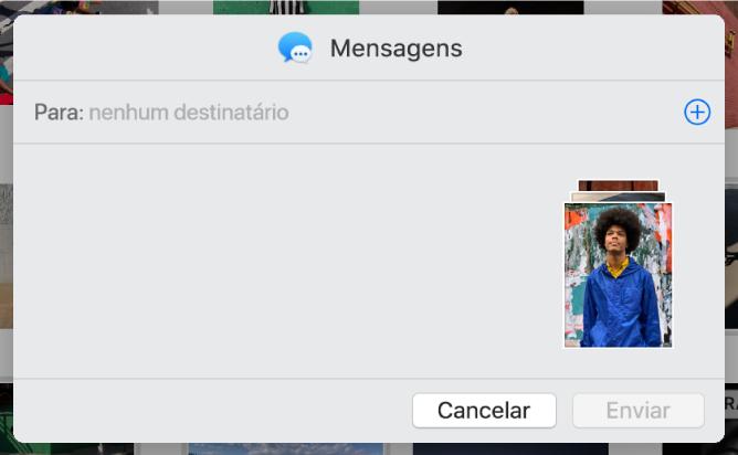 Uma caixa de diálogo para adicionar destinatários ao partilhar fotografias a partir da aplicação Fotografias através da aplicação Mensagens.
