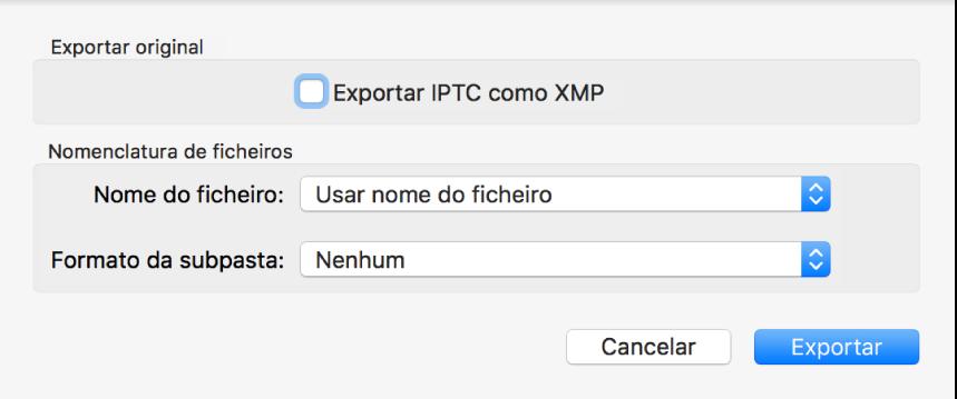 Uma caixa de diálogo a mostrar as opções para exportar ficheiros de fotografia com o formato original.