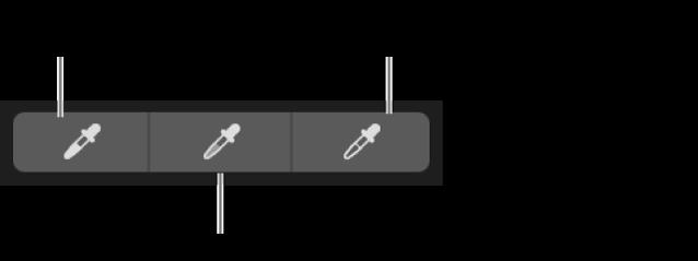 Три пипетки, используемые для выбора точки черного, средних тонов и точки белого на фотографии.