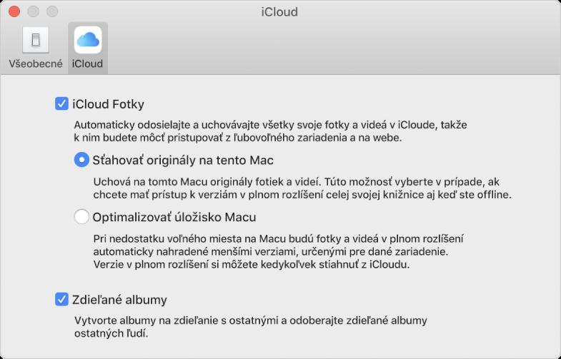 Panel iCloud vnastaveniach aplikácie Fotky.