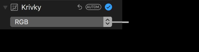 Ovládacie prvky Kriviek zobrazujúce možnosť RGB vybranú vo vyskakovacom menu.
