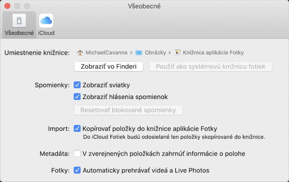 Panel Všeobecné vnastaveniach aplikácie Fotky.