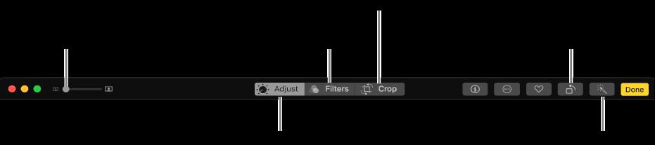 Redigeringsverktygsfältet med knappar för att göra justeringar, lägga till filter och beskära bilder.