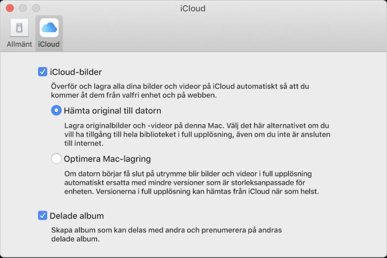Panelen iCloud i Bilder-inställningarna.