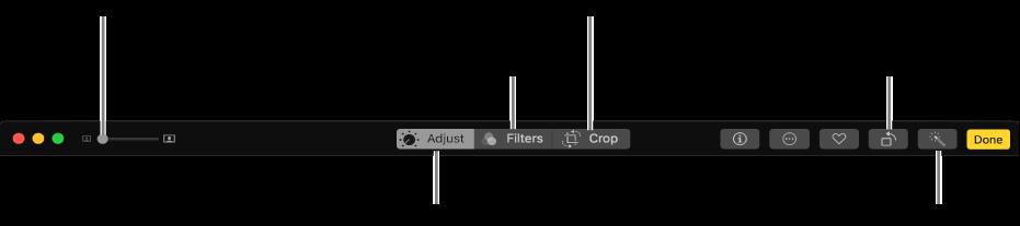 Панель інструментів редагування з кнопками для виконання коригування, додавання фільтрів та обтинання фотографій.