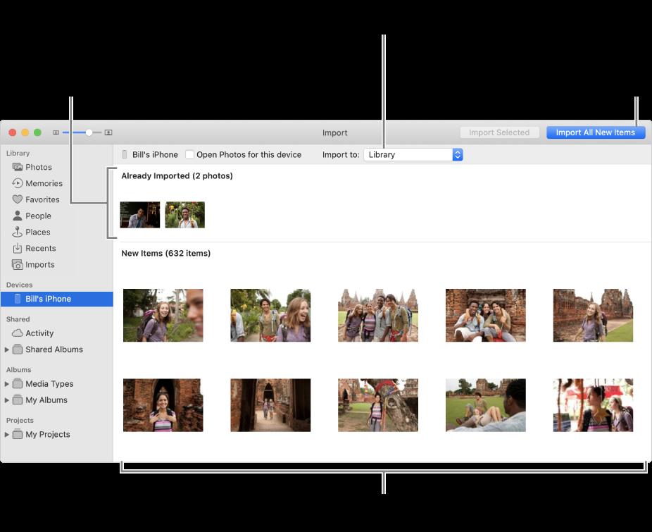 Фотографії на пристрої, які вже імпортовано, відображаються вгорі панелі, нові фотографії — внизу. Посередині вгорі є спливне меню «Імпортувати до». Кнопка «Імпортувати всі нові фото» знаходиться вгорі справа.