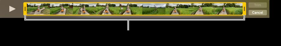 Жовті маніпулятори обтинання відеоуривка.