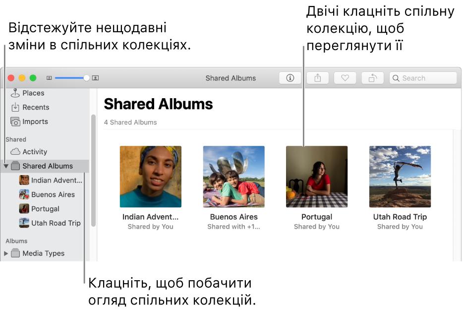Панель «Спільні колекції» у вікні програми «Фотографії» зі спільними колекціями.