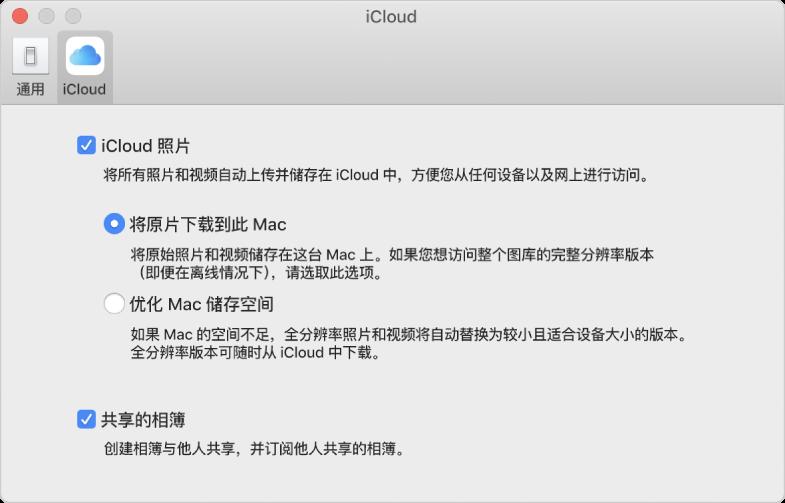 """""""照片""""偏好设置的 iCloud 面板。"""