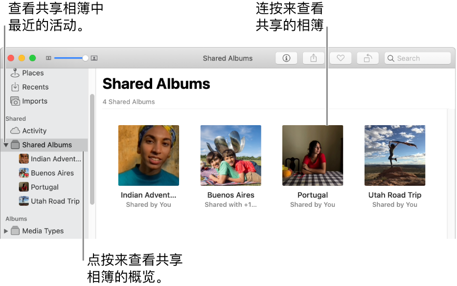 """""""照片""""窗口的""""共享的相簿""""面板,显示共享的相簿。"""