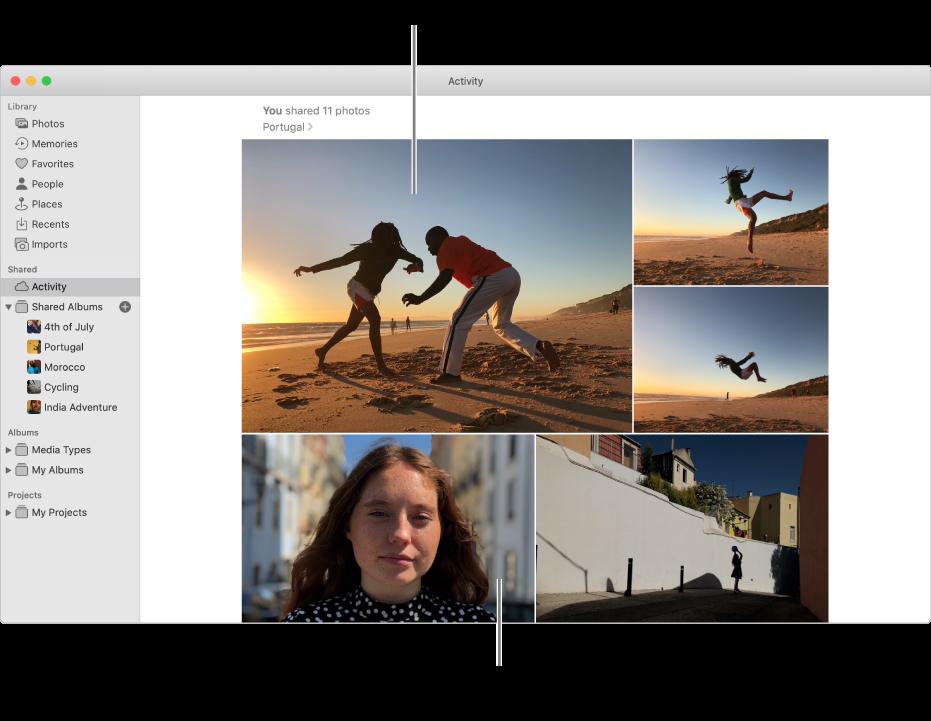 「相片」視窗顯示「活動」相簿。
