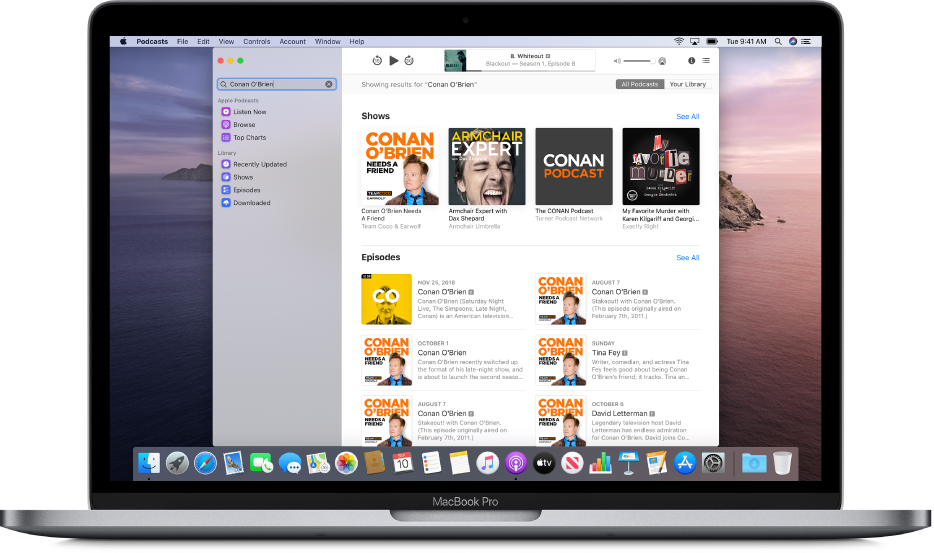 The Apple Podcasts window showing a search string and the results.